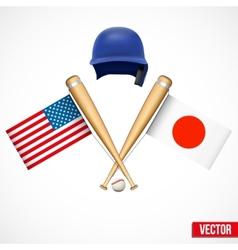 Symbols of Baseball team USA and Japan vector image
