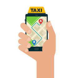 taxi route in a smartphone icon flat isolated vector image