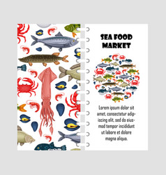 template seafood set with crab fish vector image