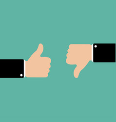 thumbs up and down in flat style like and dislike vector image
