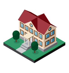 two-story building with lawn and trees isometric vector image