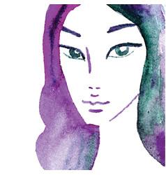 Watercolor girl unique hand painted portrait vector