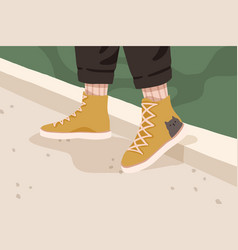 Womans or mans yellow trendy gumshoes female or vector