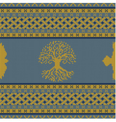 World tree knitted seamless celtic ornament vector