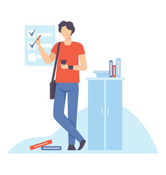 young man planning and controlling his working vector image