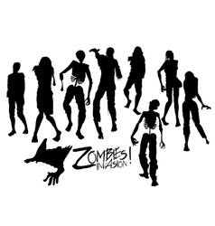 Zombie silhouettes walking forward vector image