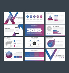 purple blue triangle presentation templates vector image vector image