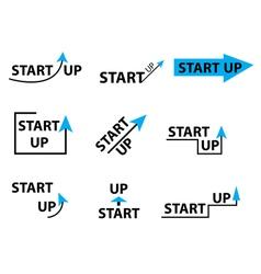 Set startup logo element startup company logo vector image vector image