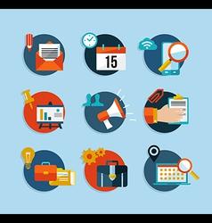 Social media network flat icons set vector image