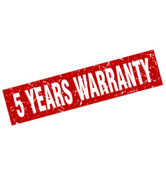 Square grunge red 5 years warranty stamp vector