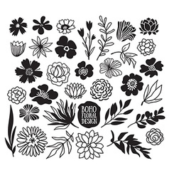 Boho black decorative plants and flowers vector image