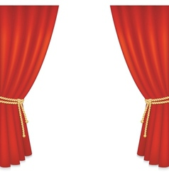 Realistic red velvet curtain vector image vector image