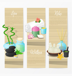spa and wellness banners with natural cosmetics vector image
