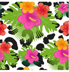 tropical flowers plants leaves and animal skin vector image vector image