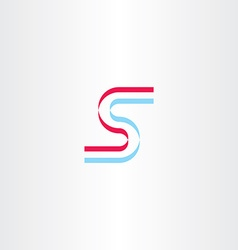 blue red stylized icon letter s logo vector image vector image