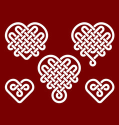 chinese knots in form of heart vector image vector image