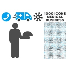 Standing Waiter Icon with 1000 Medical Business vector image