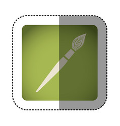 sticker color square with brush icon vector image