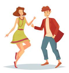 Woman jumping at dancefloor and man dancing vector