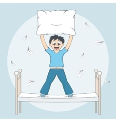 Boy starts pillow fight Child with cushion on bed vector image vector image