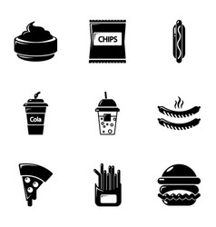 different fast food icons set simple style vector image vector image