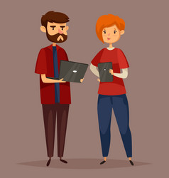 male system administrator and online support woman vector image