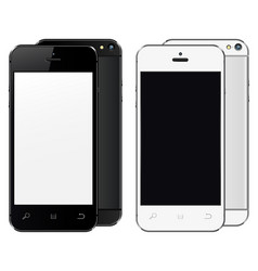 realistic mobile phones with blank screen isolated vector image