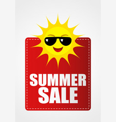 summer sale icon with funny sun cartoon vector image vector image