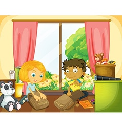 Two kids packing schoolbag in the house vector