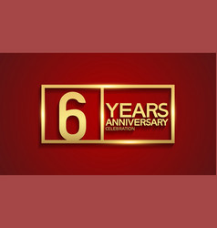 6 years anniversary logotype with golden color vector