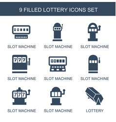 9 lottery icons vector