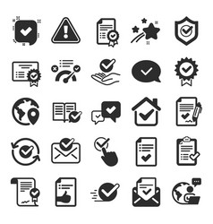 Approve icons set check list certificate and vector