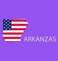 Arkanzas state of america with map flag print vector