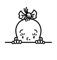 Baby icon face of small girl line drawing vector