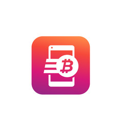 bitcoin payment money transfer icon for apps vector image