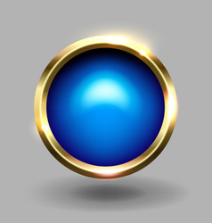 Blue shiny circle blank button with gold metallic vector