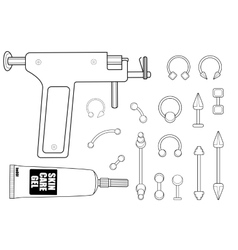 Body piercing equipment vector image