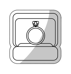Box ring wedding outline vector