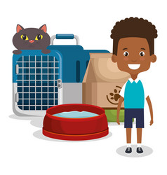 boy with cat character vector image
