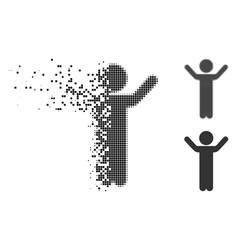 broken dot halftone hands up child icon vector image