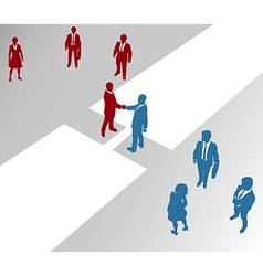 Business people teams join on merger bridge vector image