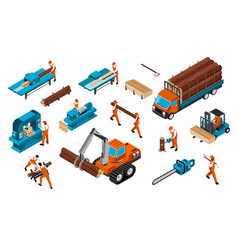 Carpentry factory icon set vector