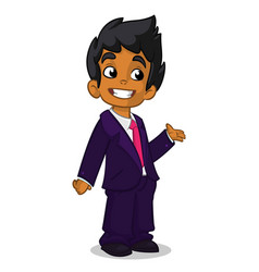 cartoon arab boy presenting vector image