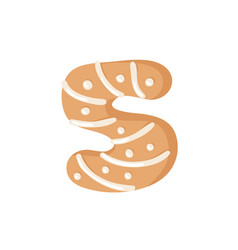 cartoon ginger bread cookie number 5 hand drawn vector image