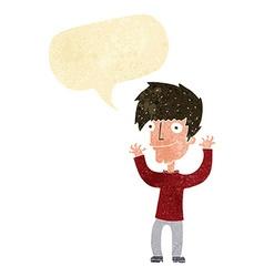 Cartoon man waving arms with speech bubble vector