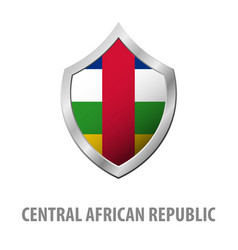 central african republic flag on metal shiny vector image