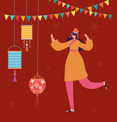 Chinese lunar new year carnival people dance vector