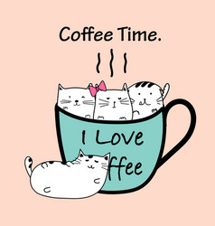 coffee time with cat cup vector image