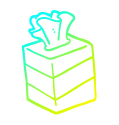 Cold gradient line drawing cartoon tissue box vector