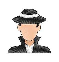 Color pencil image cartoon half body hacker with vector